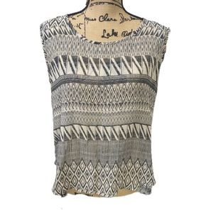 Mine Too Blouse Gray Sleeveless Top Size L.